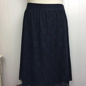 Lularoe black lace Lola skirt 2XL